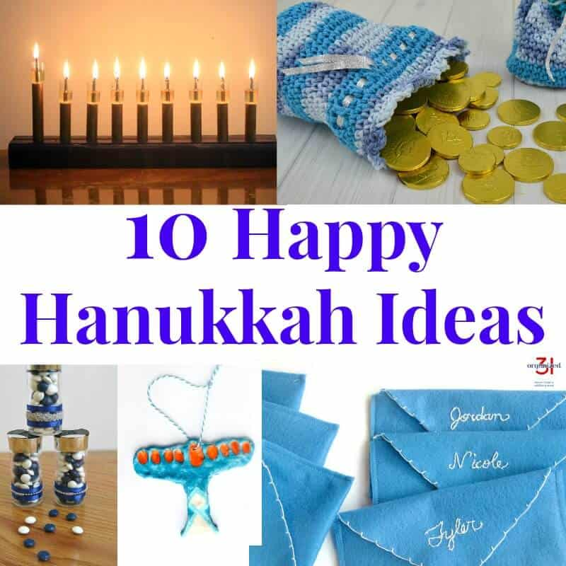 collage of 5 Hanukkah craft images with blue text reading 10 Happy Hanukkah Ideas