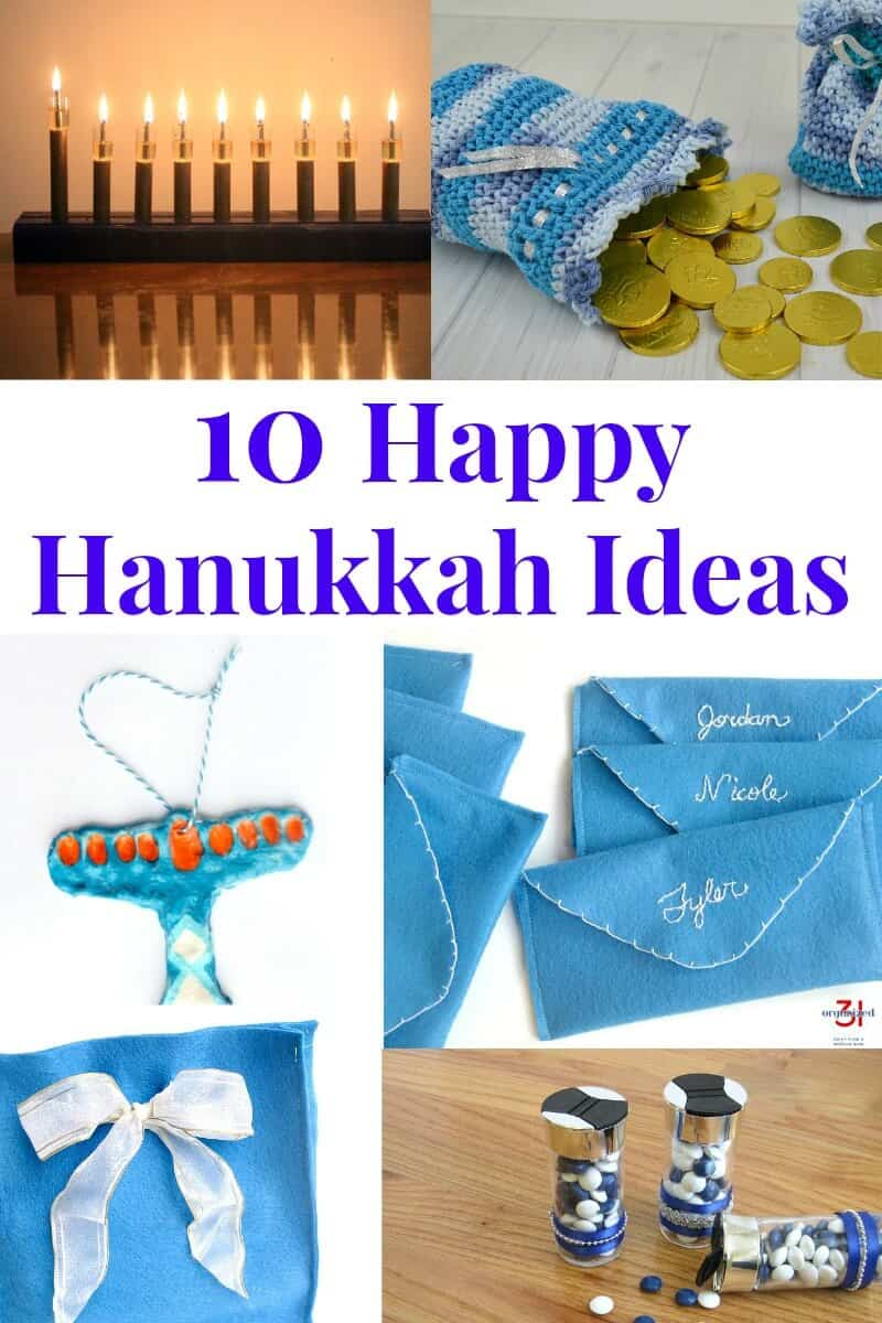 collage of chanukka crafts with title text reading 10 Happy Hanukkah Ideas