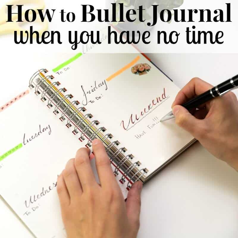 Too busy to bullet journal? Learn how to bullet journal successfully when you have no time and make the most of this productivity and organizing tool. - Woman's hands with pen writing in planner.