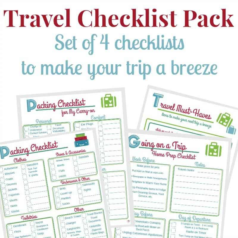 4 checklists for traveling in red, blue and green with title text reading Travel Checklist Pack Set of 4 checklists to make your trip a breeze