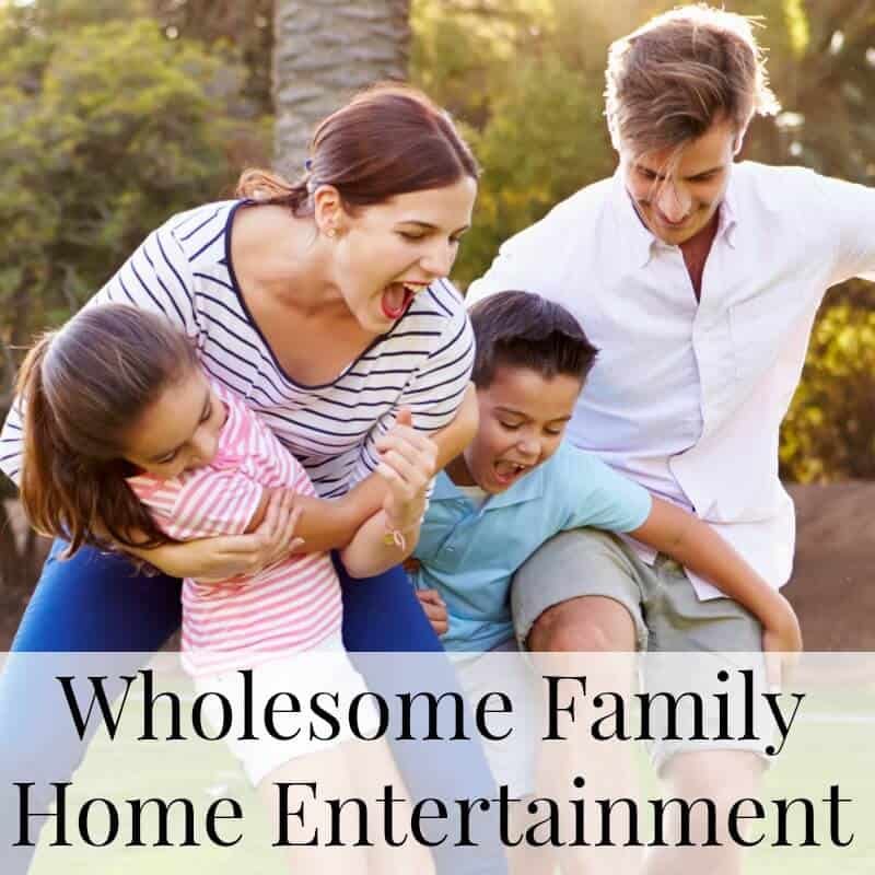 Family of 4 playing outside and laughing with title text overlay reading Wholesome Family Home Entertainment