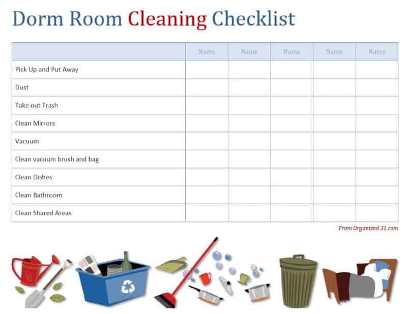 image of dorm room cleaning worksheet