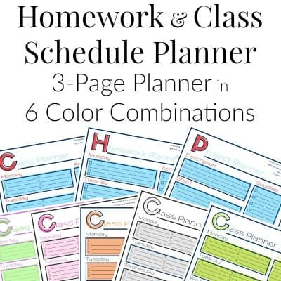 8 pages in vareity of colors of homework planner worksheets with text overlay