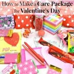 Red and pink care package items with text overlay