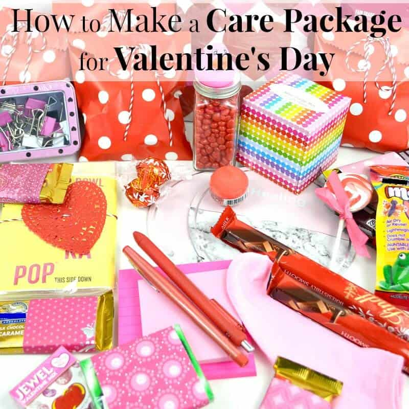 Red and pink care package items - Comprehensive list of tips on how to make a care package for Valentine's Day for college students and military members.