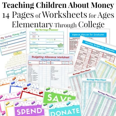 stack of 17 children allowance and budget planning worksheets