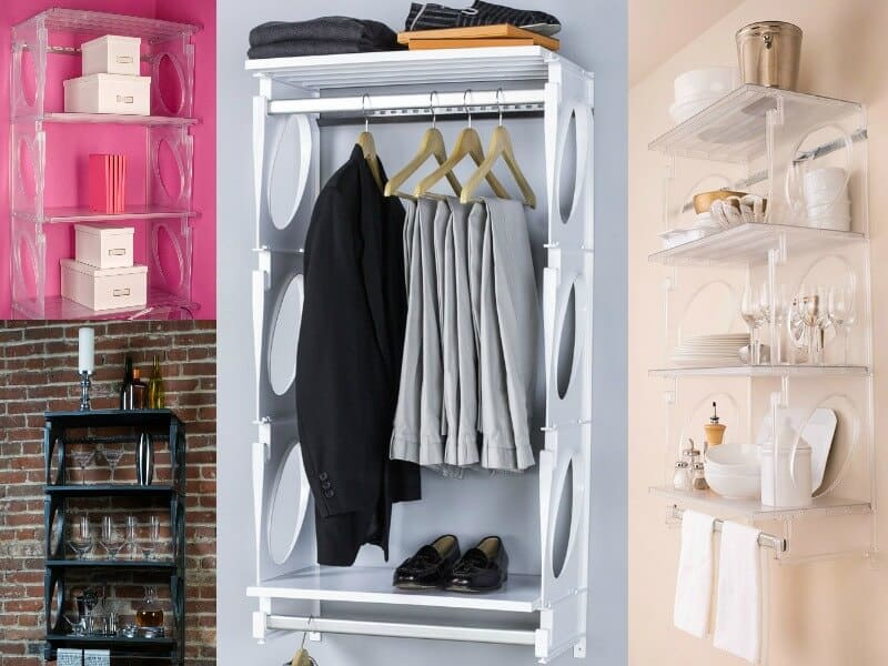 collage of wall shelves used to organize different items, such as clothes, boxes, and bathroom items