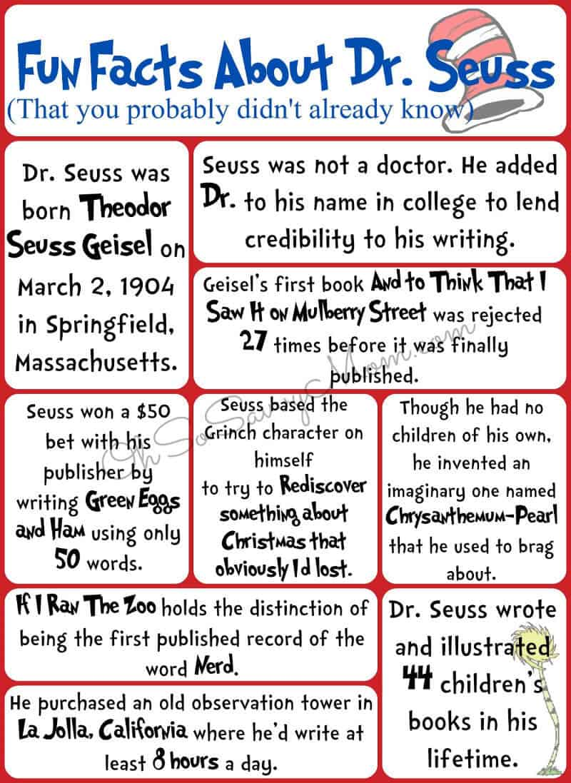 collage of facts about Dr. Seuss in red, black and blue