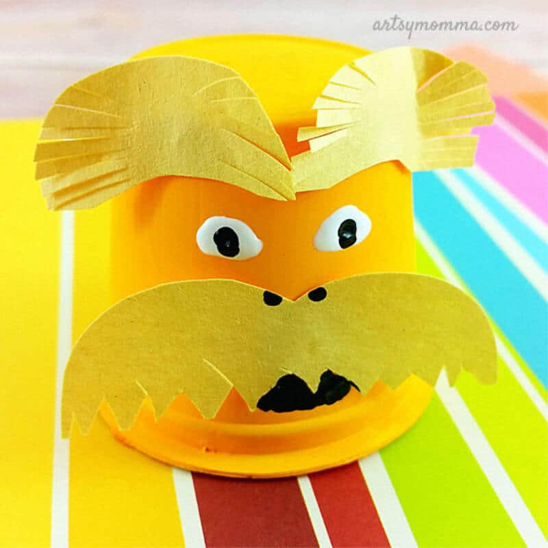 paper craft Lorax face on yellow cup