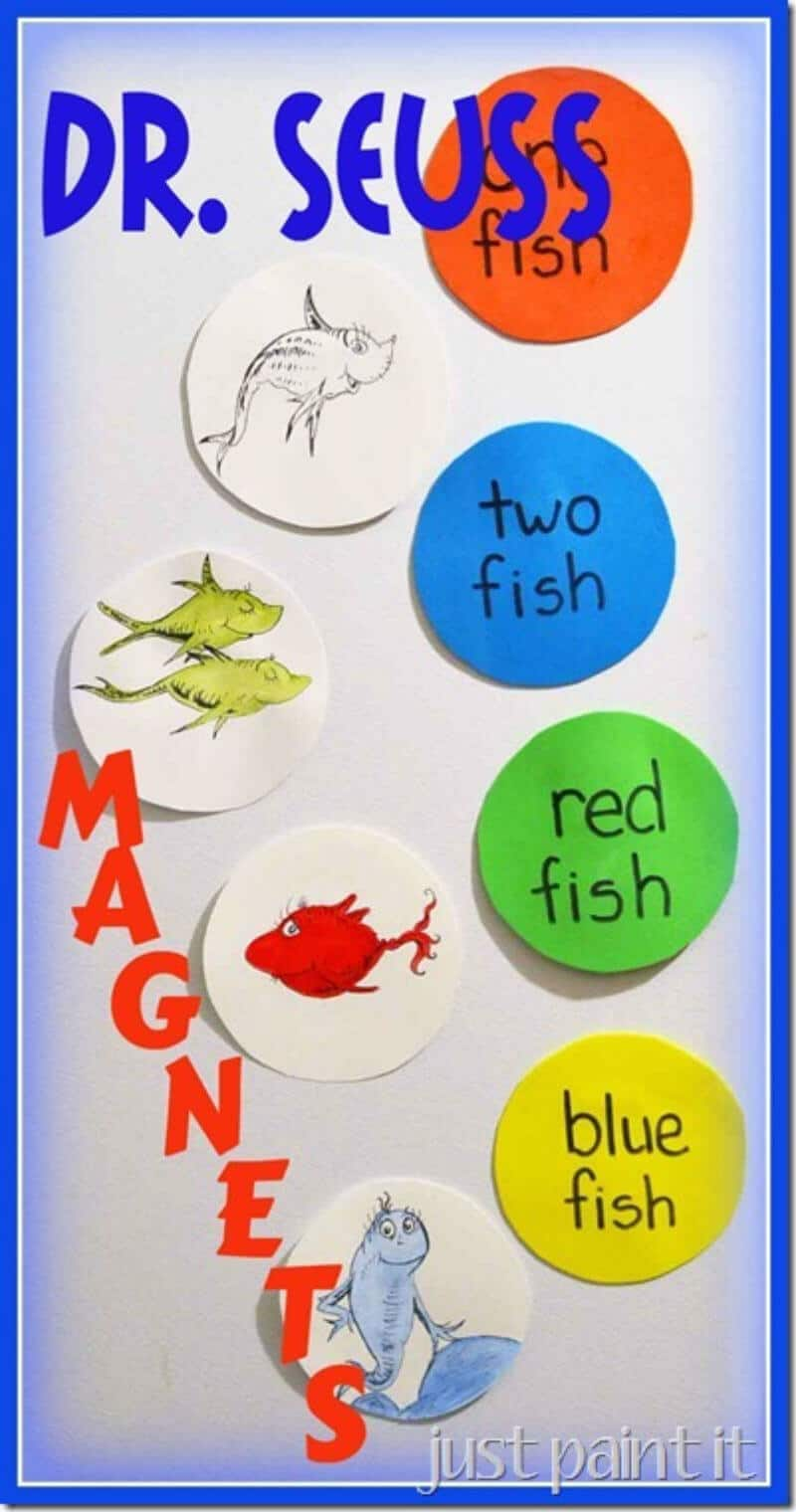 fish in bubbles and circles with words from one fish two fish