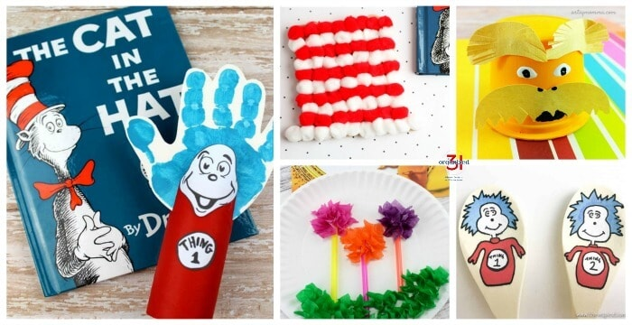 Collage of 5 Dr Seuss craft projects