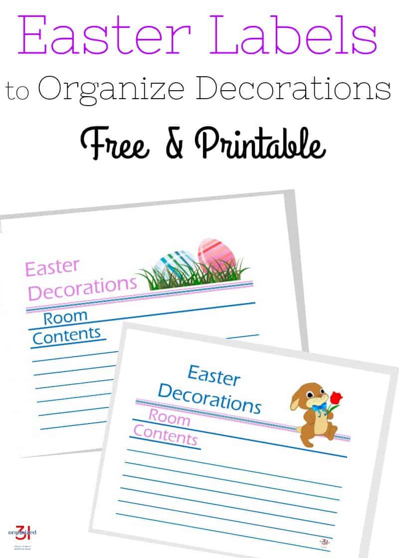 Two free printable Easter Bunny and Eggs Storage Bin Labels to organize and keep track of your Easter decorations when they are packed away in storage.