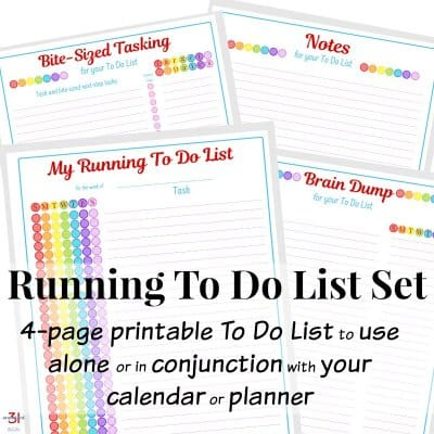 Stack of 4 printable sheets with rainbow colors for to do lists