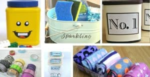 collage of six repurposed projects for home organizing