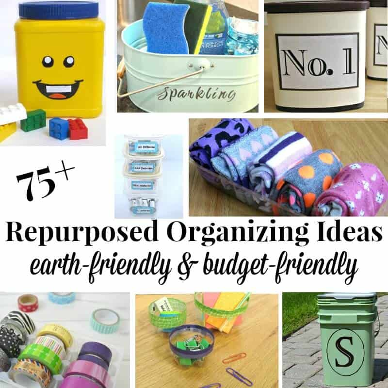 75+ Free and low-cost organization using repurposed organizing ideas that are just as effective and pretty, plus are budget & earth-friendly.