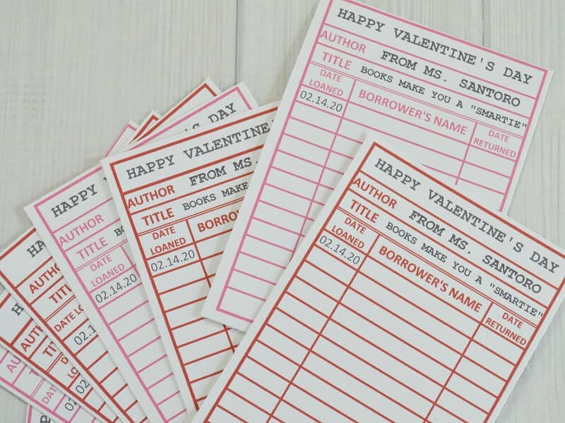 printable library card valentines