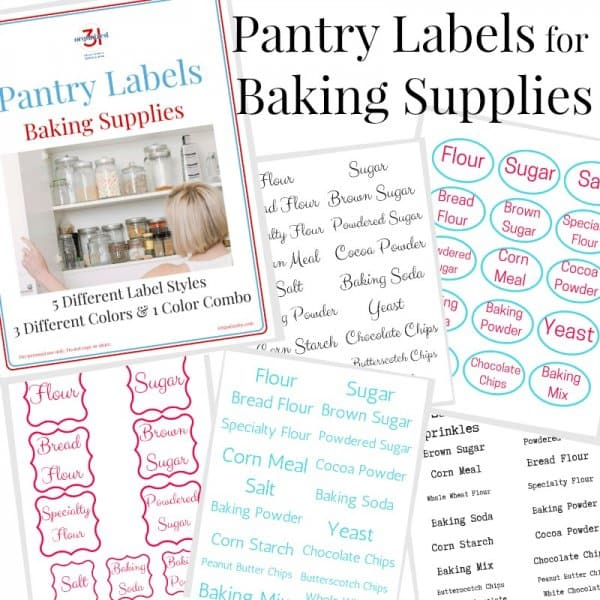 Stack of six pages of kitchen pantry labels