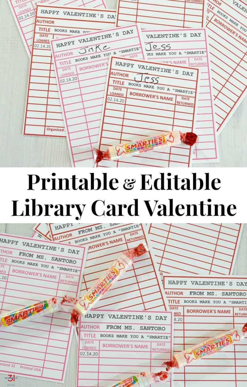 a collage of library cards and smarties with title text reading Printable & Editable Library Card Valentine