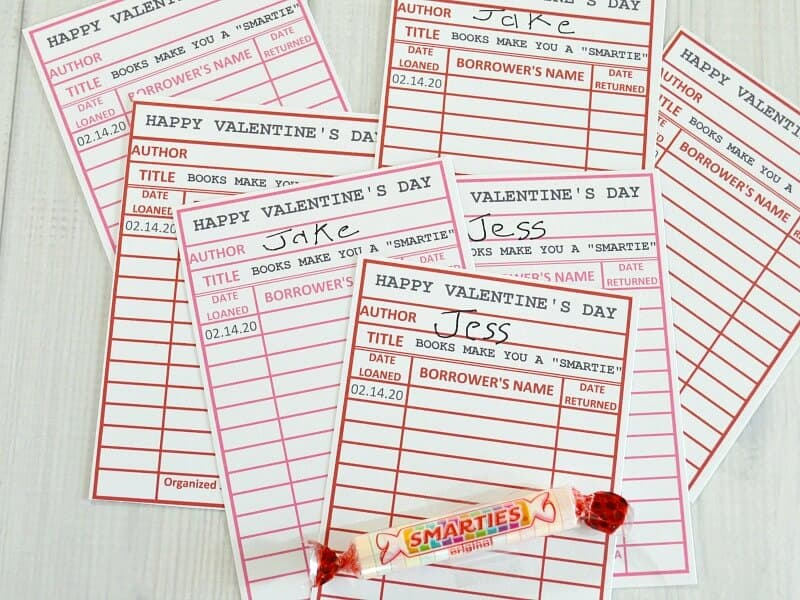 printable library cards for Valentine's day and smarties candy