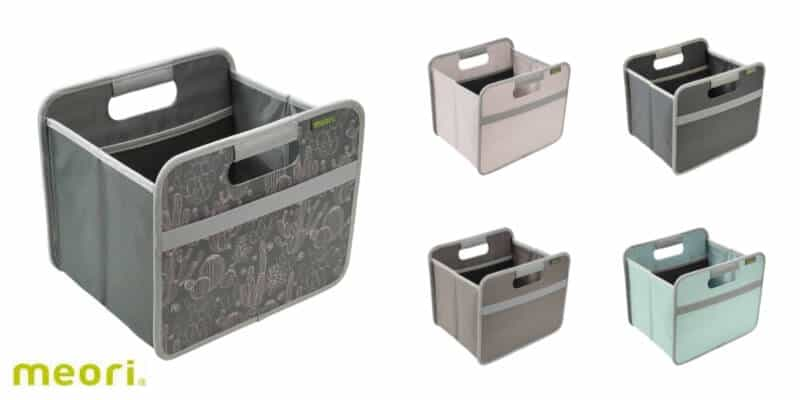 collage of fabric storage bins with handles