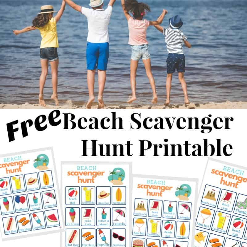 4 Children holing hands and jumping at the beach with images of beach scavenger hunt sheets below