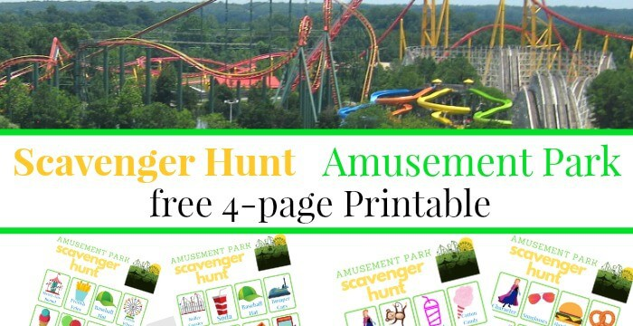 2 picture Collage of roller coaster and 4 scavenger forms sheets with text overlay