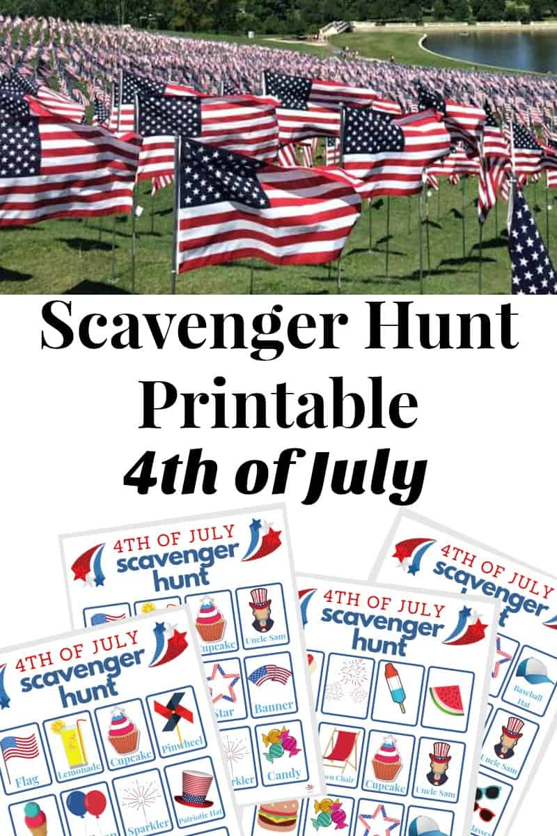 2 images - Many American flags on hill & images of four 4th of July sheets for scavenger hunt