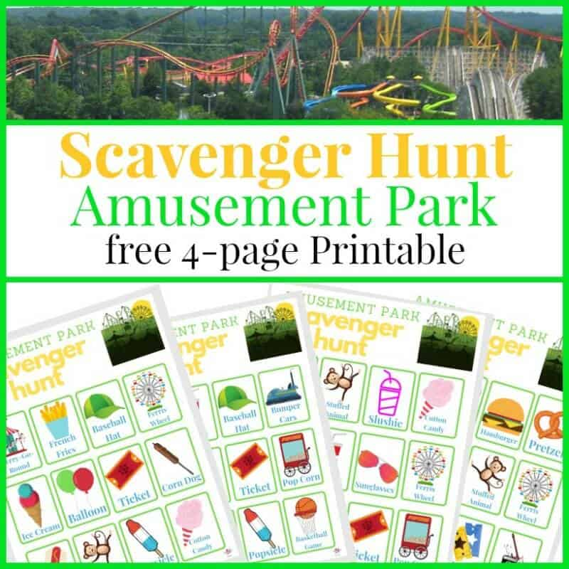 Collage of roller coaster and 4 scavenger forms sheets with text overlay reading Scavenger Hunt Amusement Park free 4-page Printable