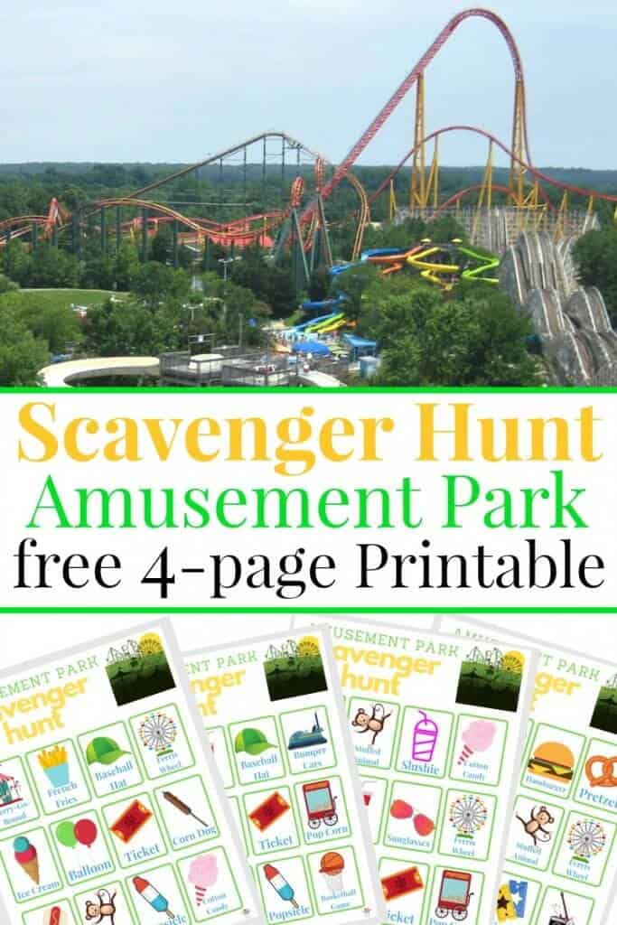 Collage of roller coaster and 4 images of scavenger hunt sheets with text overlay