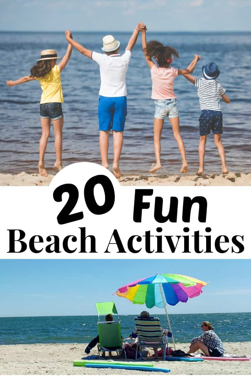 collage - top image 4 children holding hands and jumping at the ocean, lower image colorful beach umbrella with 3 people sitting under it