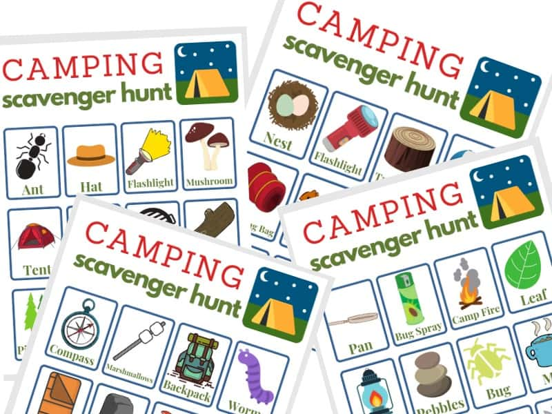 4 different images of camping scavenger hunt worksheets