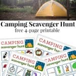 top image of yellow tent and lower images are 4 worksheets for scavenger hunt while camping