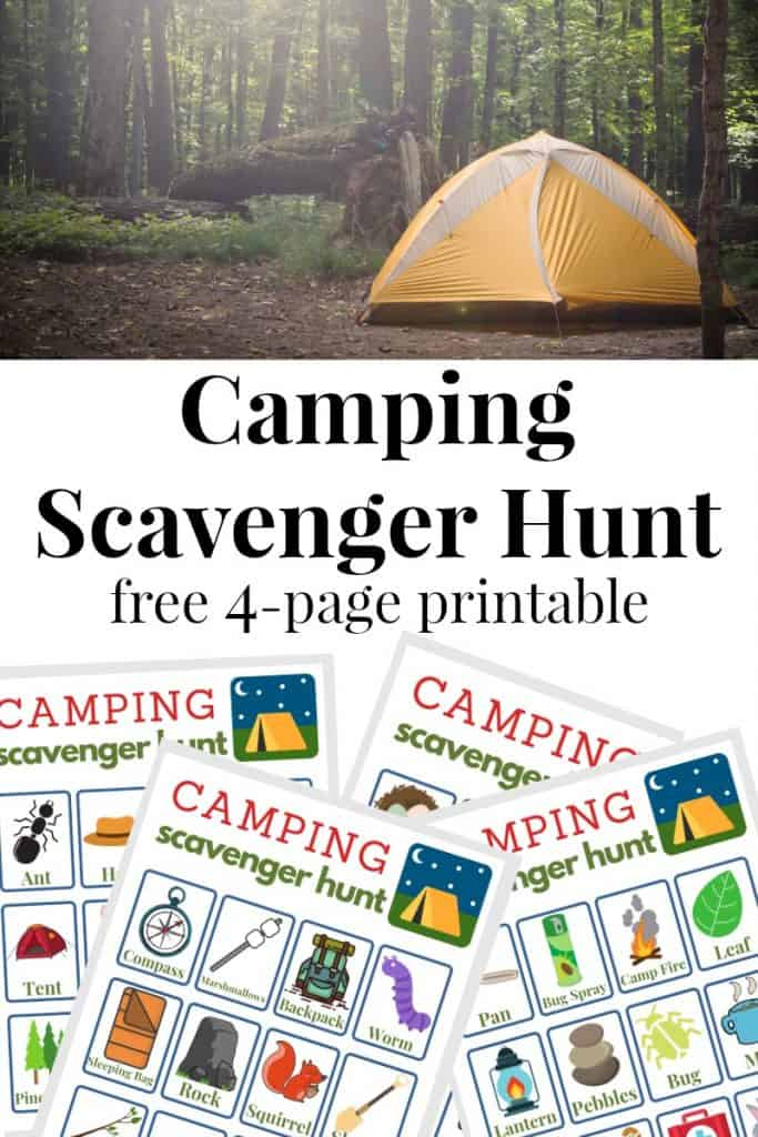 collage of camping tent and 4 camping scavenger hunt sheets