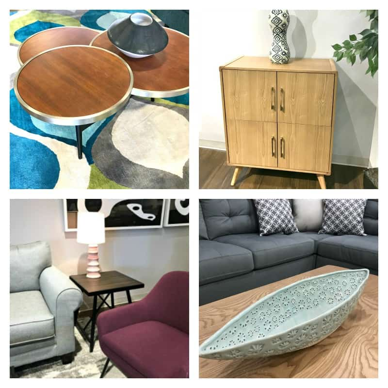 collage of 4 images of modern style furniture