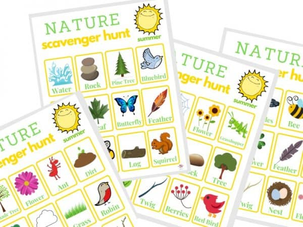 4 yellow and brightly colored scavenger hunt sheets