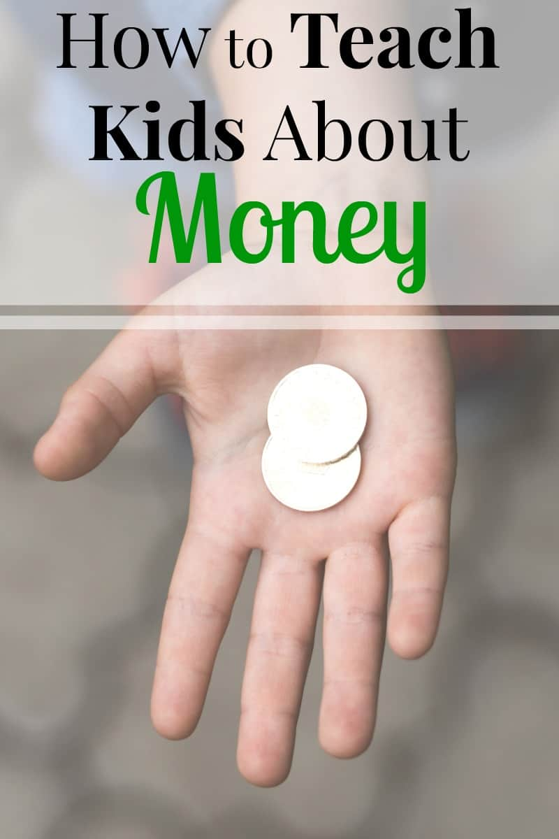 Child's hand holding 2 coins with text overlay reading How to Teach Kids About Money