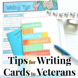 tip sheet, card, blue envelope, blue, pen and flag stamps with text overlay