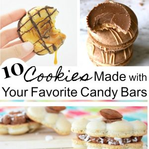 text with collage of 3 images of cookies made from candy