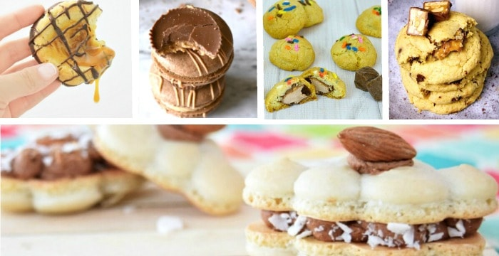 5 images of cookies made from candy bars