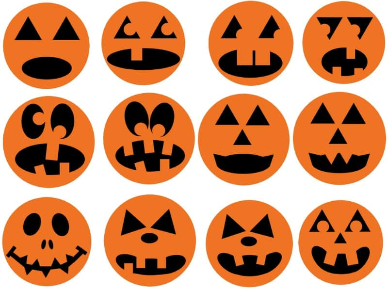 images of 12 different Halloween jack o'lantern faces in a printable