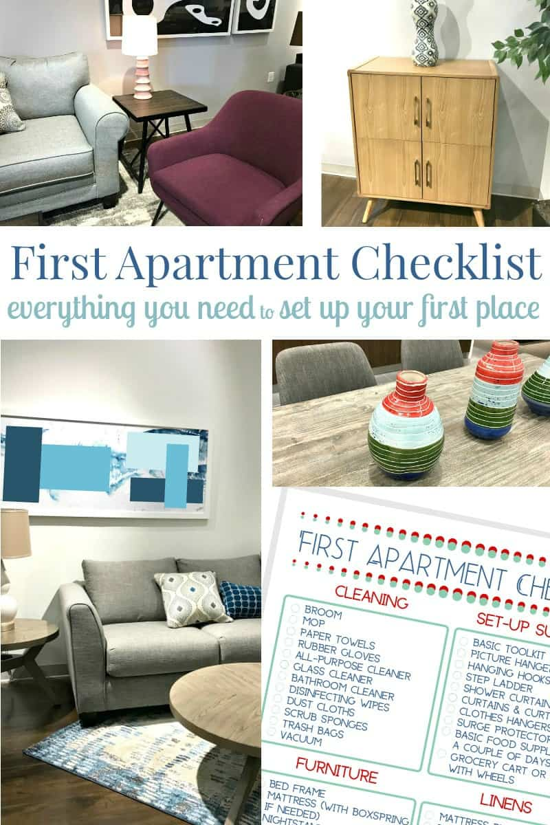 Collage of 4 images of modern style furniture and image of checklist