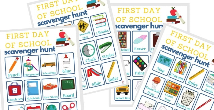 4 scavenger hunt boards for the first day of school