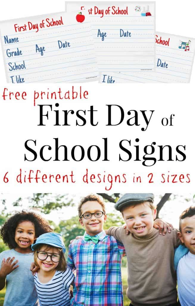 Upper image collection of first day of school signs, lower image group of 5 children with arms around each other