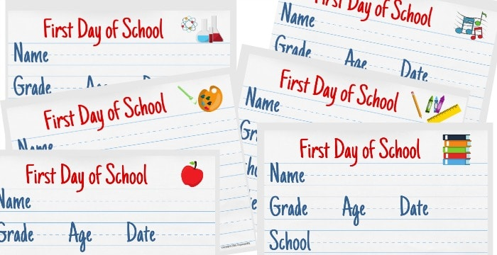 close up of 6 horizontal colorful first day of school signs