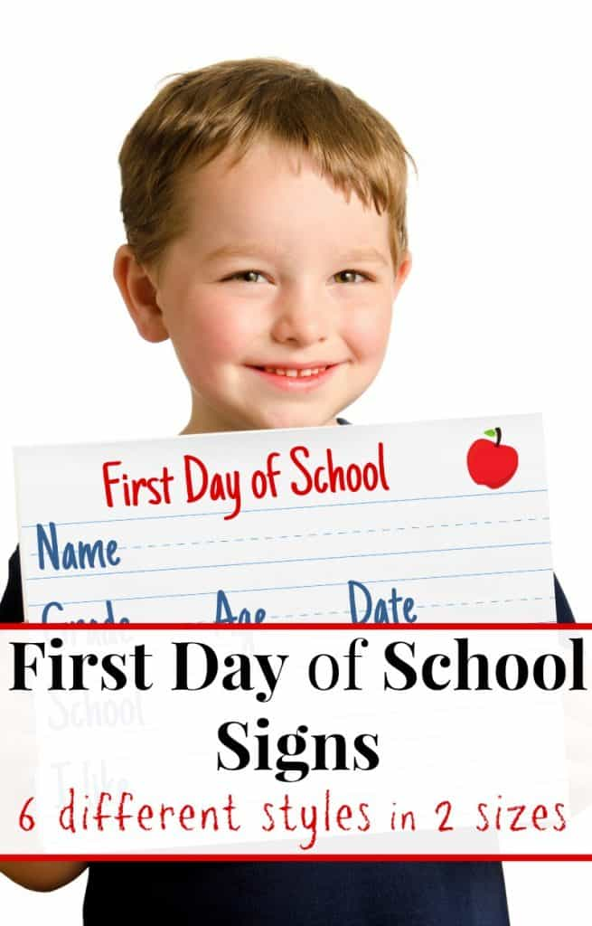 young boy holding first day of school sign with text overlay