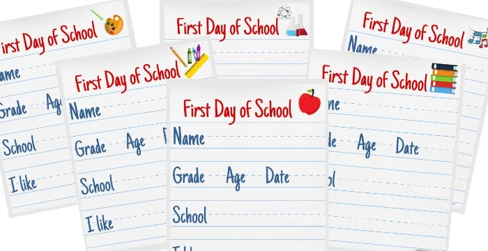 close up of 6 colorful blank vertical first day of school signs