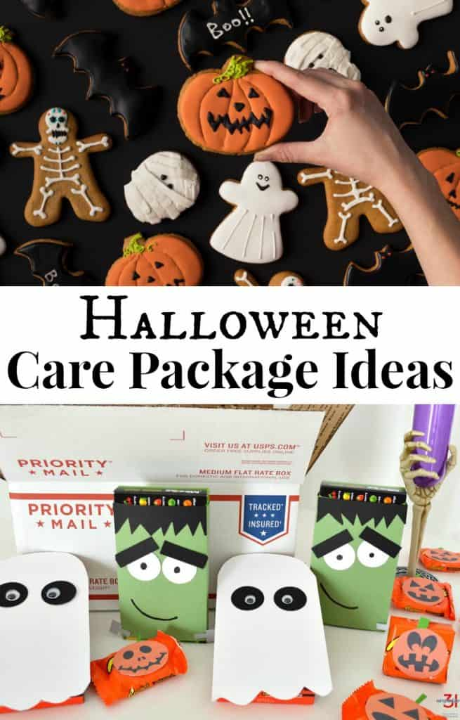 top image - hand reaching for Halloween cookie, bottom image - Halloween-themed items in front of shipping box