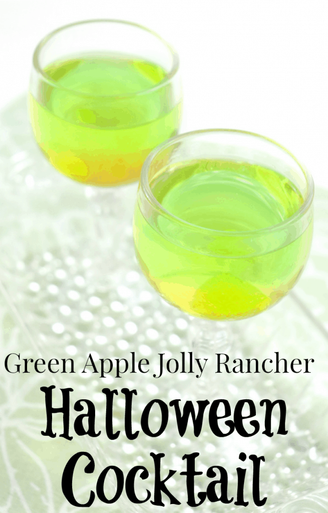 glasses of bright green colored drink with text overlay reading Green Apple Jolly Rancher Halloween Cocktail