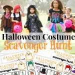 4 images of scavenger hunt sheets for Halloween and image of children in costumes