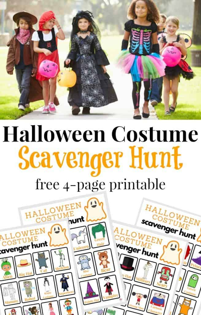 Collage of children in Halloween costumes and 4 Halloween scavenger hunt sheets with text overlay